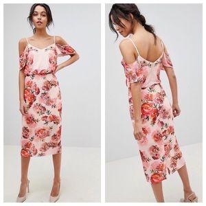 ASOS Oasis floral print cold shoulder midi dress